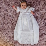 Ruffle Sleeve Baby Christening Gown