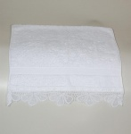White Embroidered Lace Hand Towel Egyptian Cotton