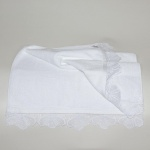 White Embroidered Lace Bath Mat Egyptian Cotton