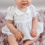 White Lace Baby Rompers Peter Pan Collar