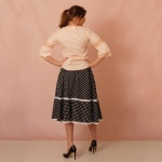 Black and White Polka Dot Midi Skirt