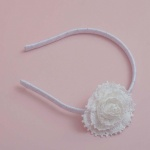 White Lace Headband with One Flower