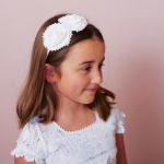 White Lace Headband with Two Flowers