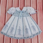 Debora Blue Lace Baby Girl  Dress Hand Embroidered