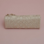 Flowery Beige Lace Clutch Bag