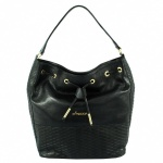Lorena Black Leather Womens Drawstring Bag