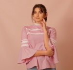 Pink  Lace Trim Cotton Top