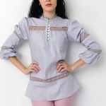 Puff  Long Sleeve Lace Top - Soft Gray
