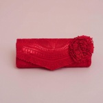 Flowery Red Handmade Lace Clutch Bag