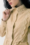 Soft Beige Lace  Trim Cotton Blouse