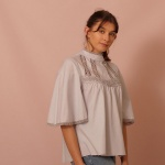 Soft Gray Bell Sleeve Lace Top