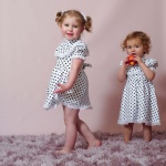Soft Silhouette Polka Dot Midi Dress Mother Daughter Matching Dress