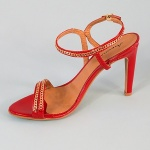 Valentina Red High Heel Sandals - Golden Chain Detail