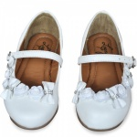 White Bow Flower Girl Shoes
