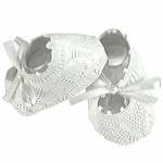 White Lace Christening Booties - Handmade