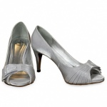 Silver Satin Wedding Shoes Wrapped Peep Toes