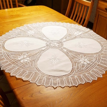 White Hand Embroidered Lace Tablecloth Round