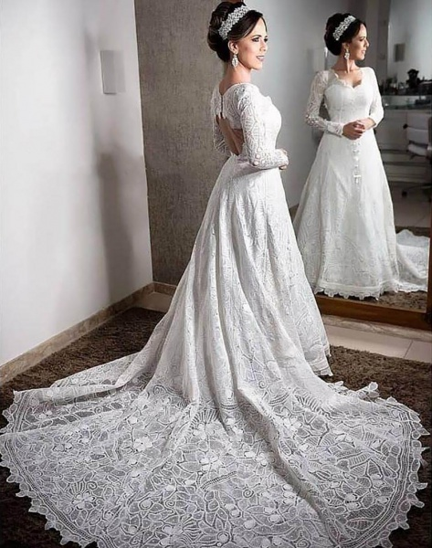 Long Sleeve Bespoke Lace Wedding Gown