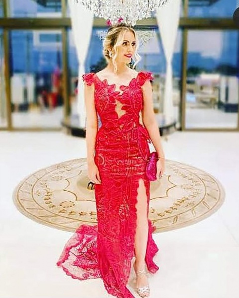 Handmade Red Lace Bridesmaid Dress