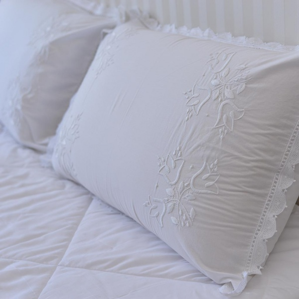 Hand Embroidered Pillowcase with Lace Edge