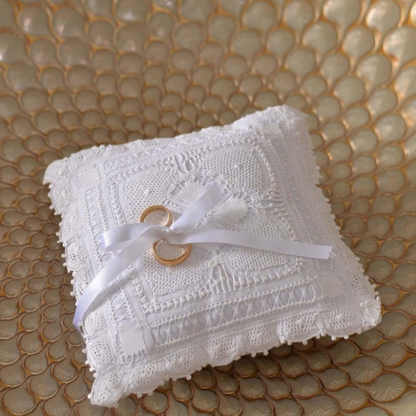 Handmade Lace Wedding Ring Cushion Square