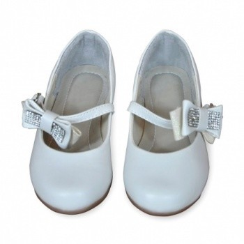 White Bejeweled Bow Flower Girls Shoes