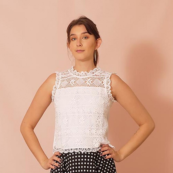 Coverage White Lace Top