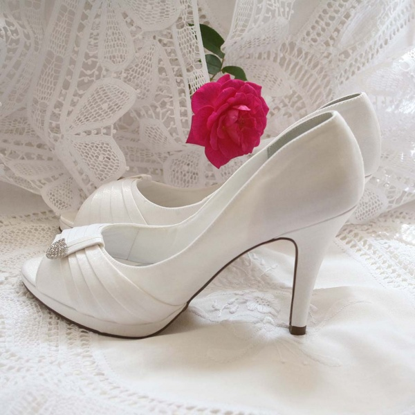 Crystal Touch Peep Toe Ivory Wedding Heels