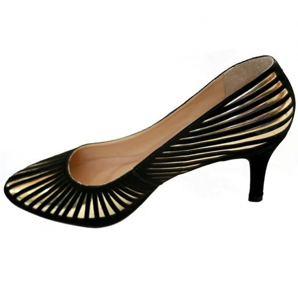 Gold and Black Kitten Heel Shoes