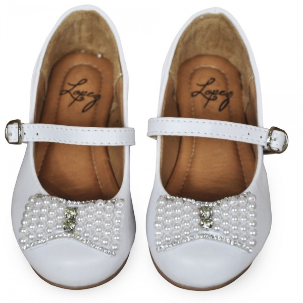 Ivory Flower Girl Shoes Pearl Bow