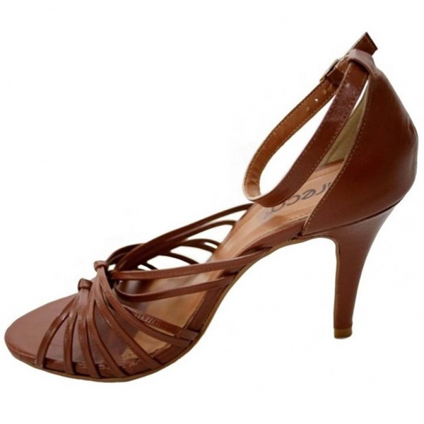Brown Leather Strap Sandal Heels for Work