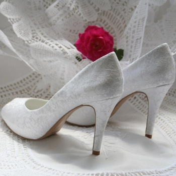 White Lace Wedding Shoes Delicate Peep Toe Heels
