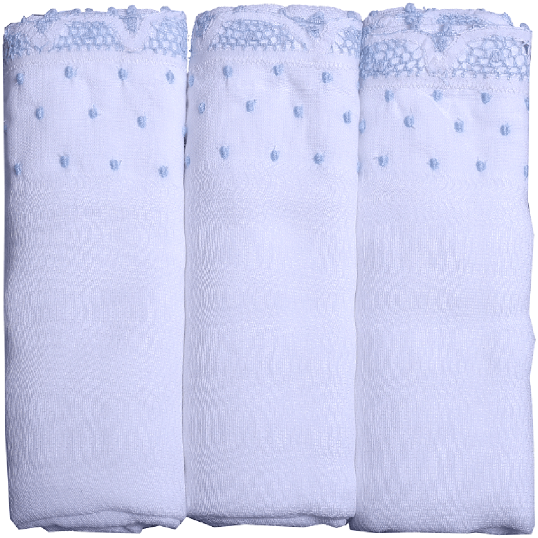 Blue Muslin Burp Cloth with Lace Trims