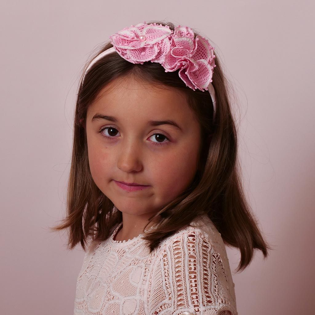 Pink Lace Headband with Two Flowers