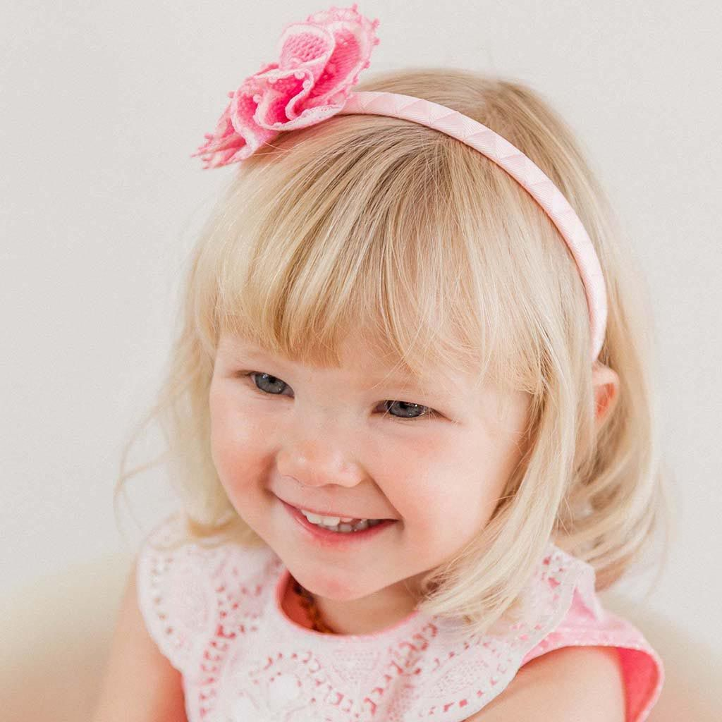 Pink Lace Headband With One Flower