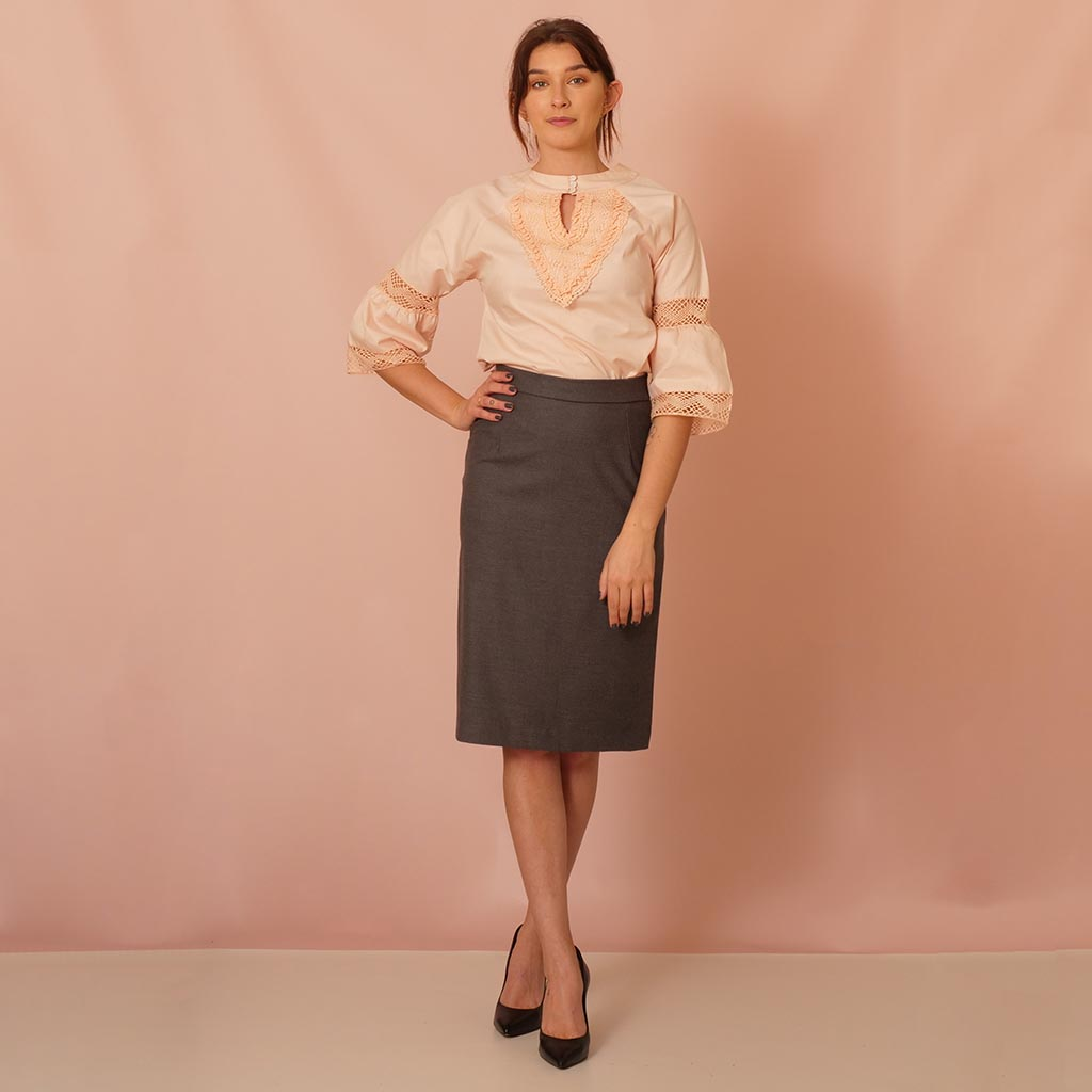 Classic Gray Pencil Skirt