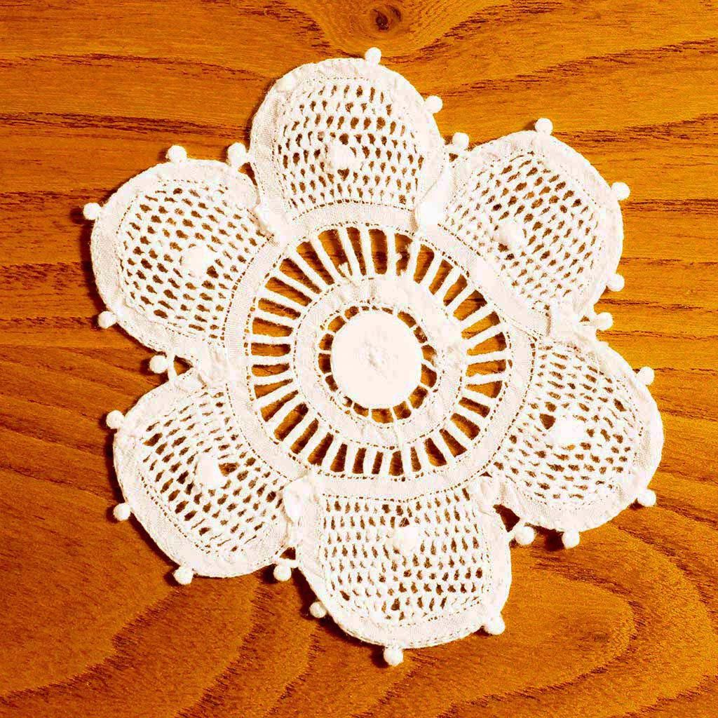 Floral White Handmade Vintage Lace  Doilies