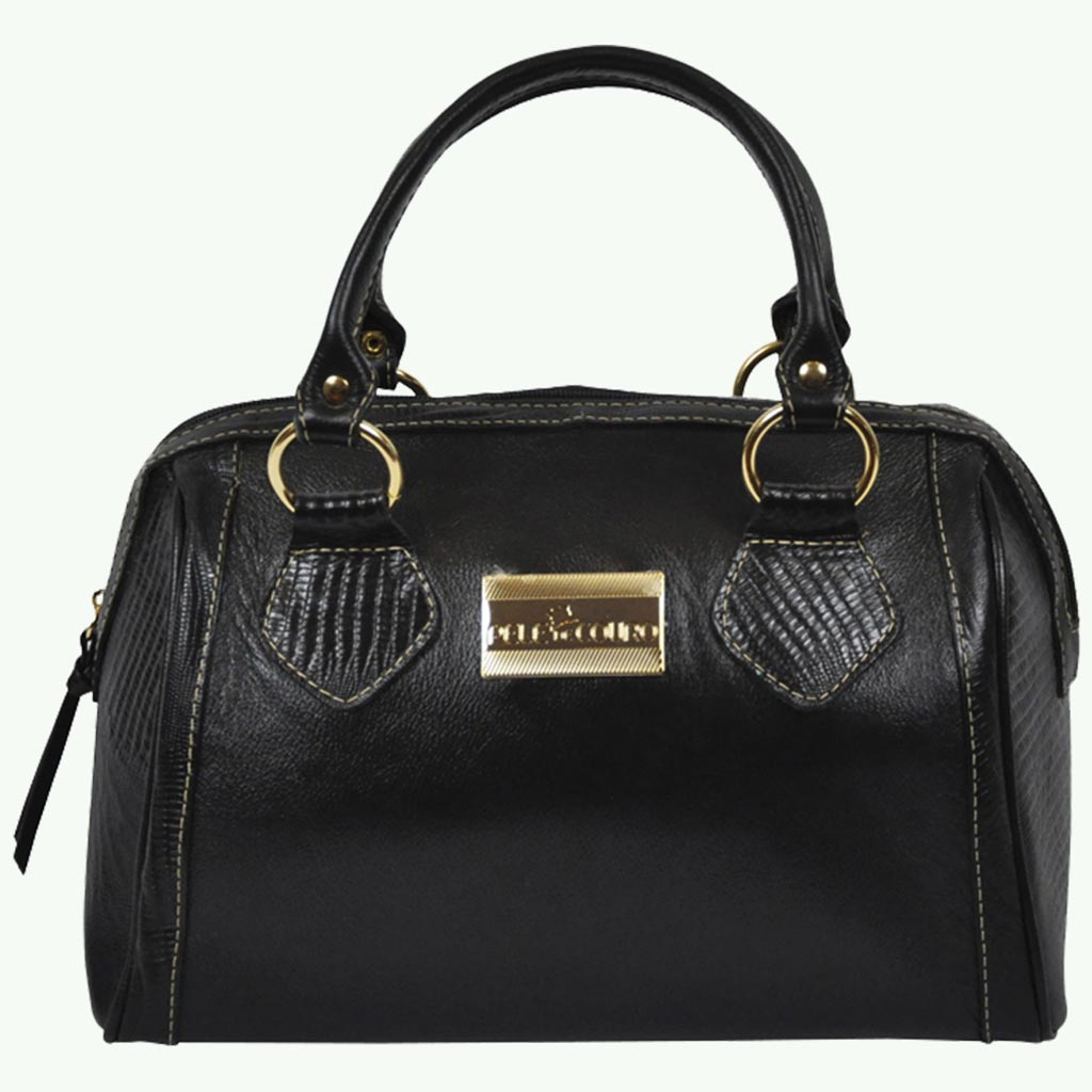 Night Sky Women Black Leather Bowling Bag