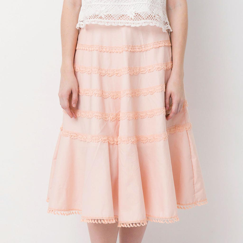Flounce Cotton Lace Midi  Skirt with Hidden Pockets
