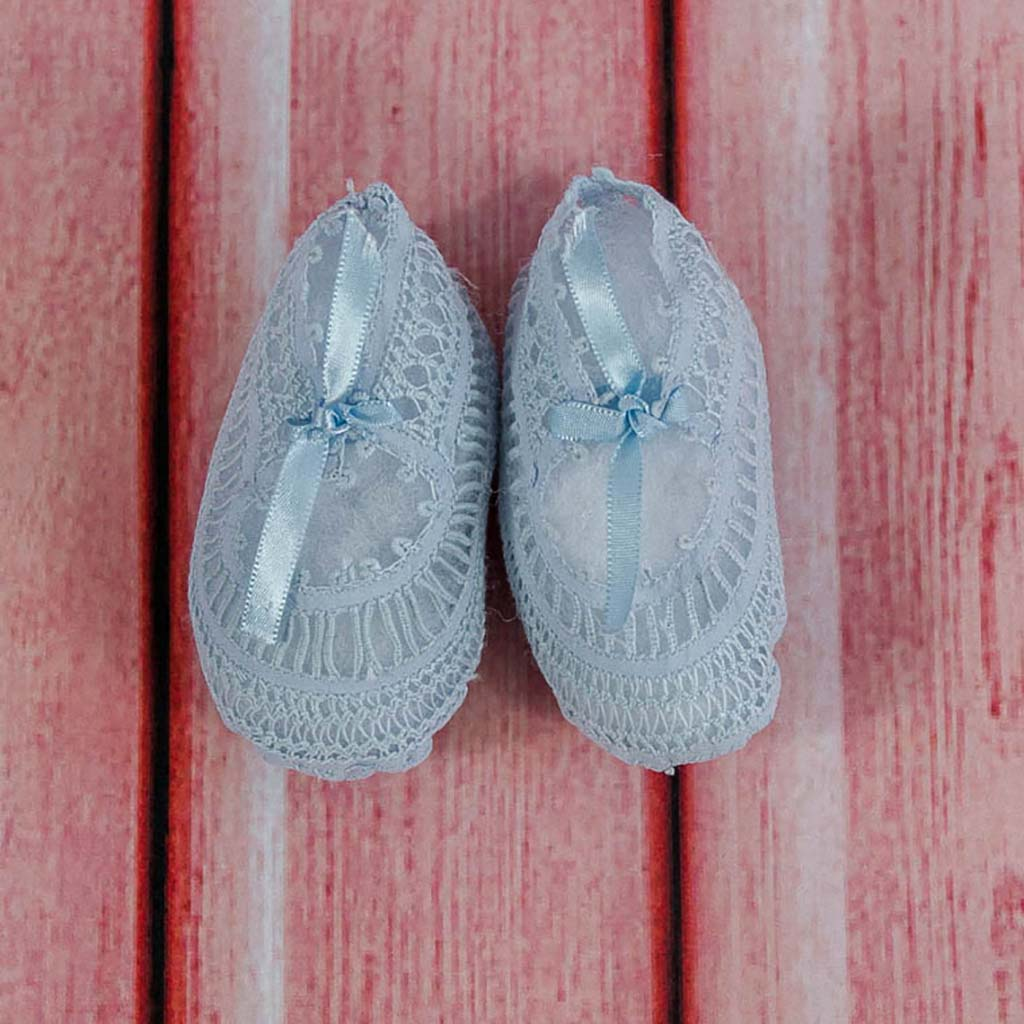Sky Blue Lace Baby Booties