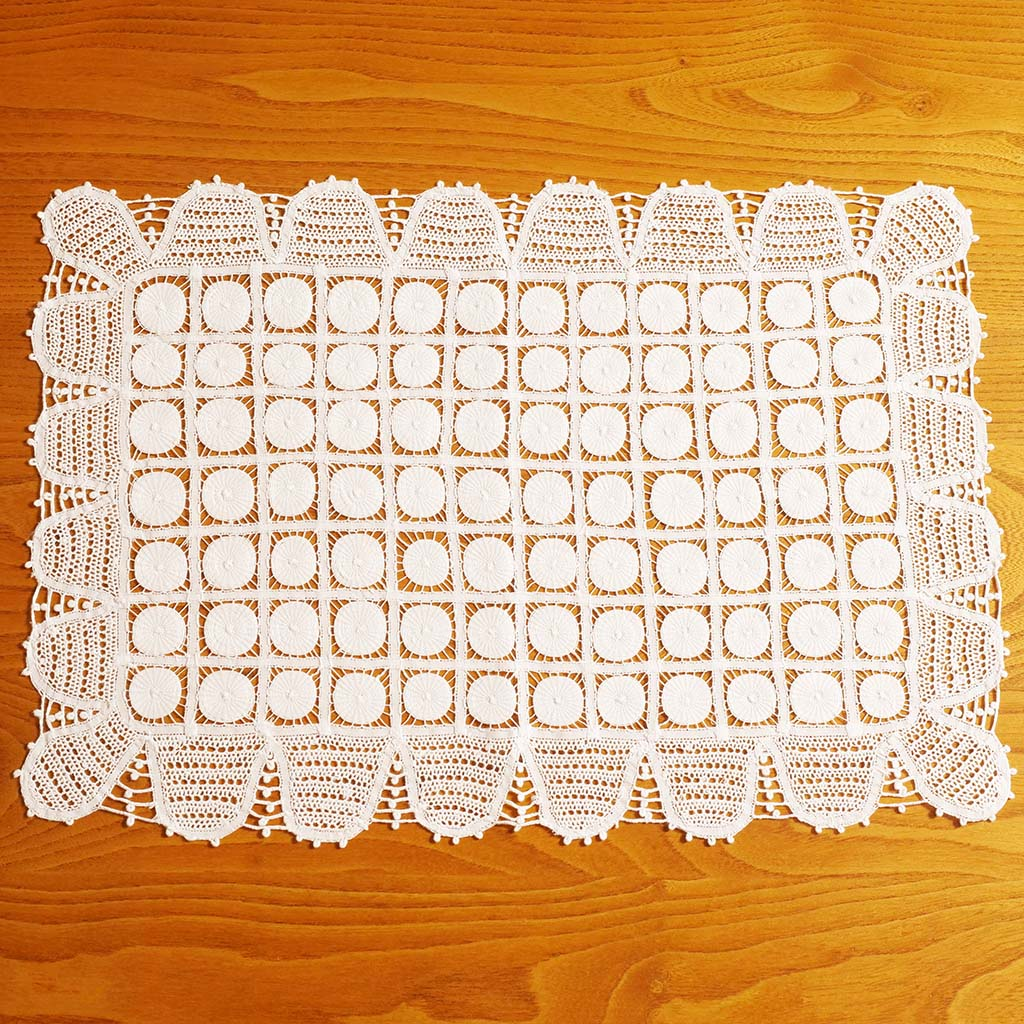 White Full Handmade Lace  Placemat (or Tray Cloth)
