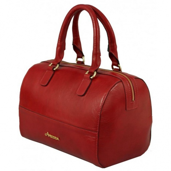 Leather Bowling Red Women Handbag