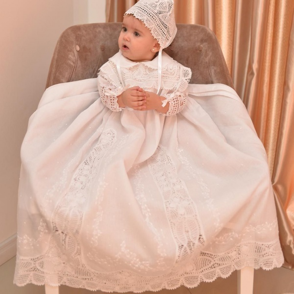Long Sleeve Handmade Lace Baby Christening Gown