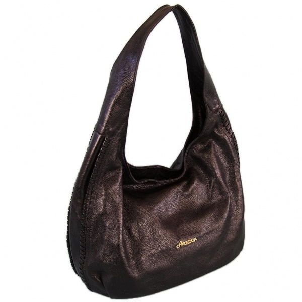 Midnight Black Leather Hobo Bag