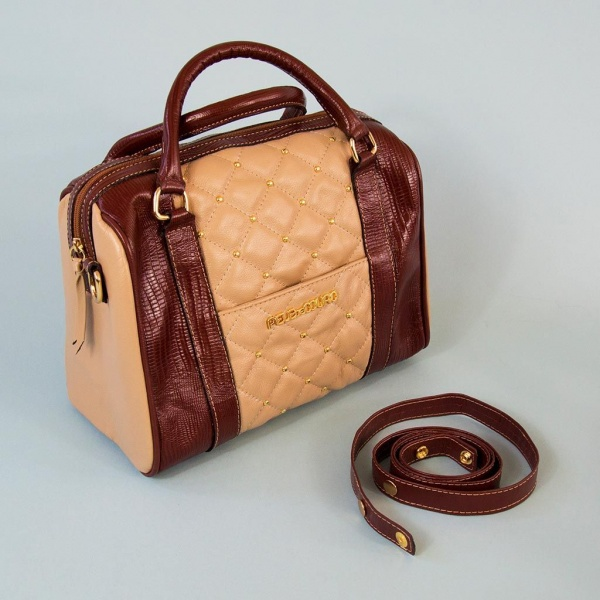 Pedrina Cream and Burgundy Quilted Tote Bag