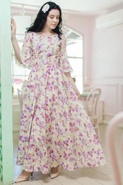 Pink Floral Fusion Sleeve Maxi Dress Mother and Daughter Matching Dress