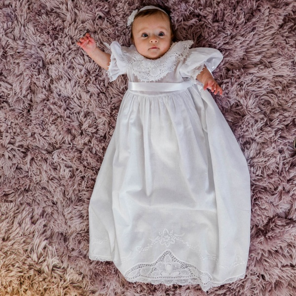 Ruffle Sleeve Handmade Lace Baby Christening Gown