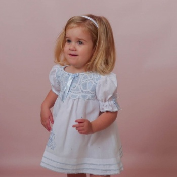 Sabrina Blue  Lace Girl Dress  Hand Embroidered