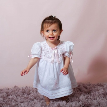 Sabrina Pink Lace Girl  Dress Hand Embroidered