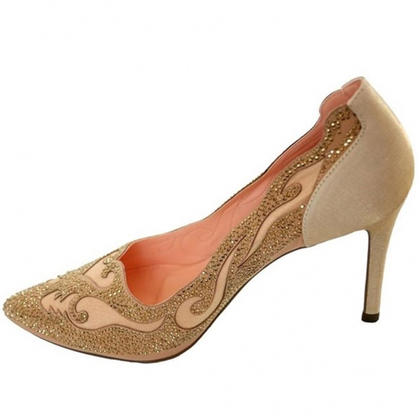 Sparkle and Swirl Accent Nude Womens Pumps